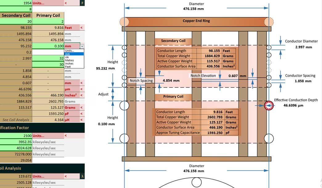 Advanced Crystal Radio Initiative Calculator - Excel Diagram